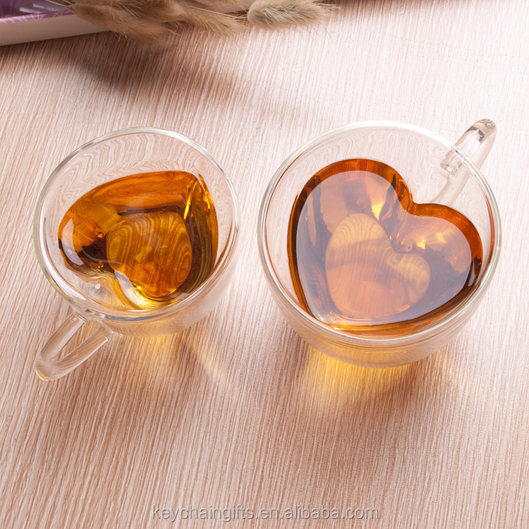 Wholesale delicate heart shape glass coffee milk mugs scented tea cups custom