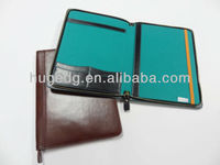 2014 hot selling popular A4 smooth pu leather zip organizers portfolio with laptop holder case