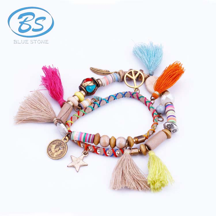 MBB017 gold peace sign coin leather bracelet tibetan nepal wire handmade wood bead gold charm tassel bracelet jewelry