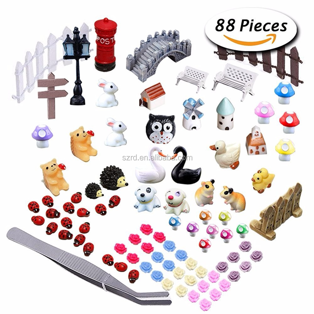 87 Pcs Miniature Ornaments Kit Set resin figure/with 1 Pcs Tweezer for DIY Fairy Garden mini resin