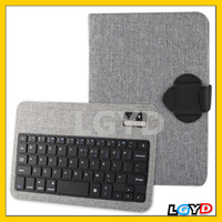 Hot Linen Bracket Leather Case with Detachable Wireless Bluetooth V3.0 ABS Hard Key Keyboard for iPad mini / mini 2 Retina