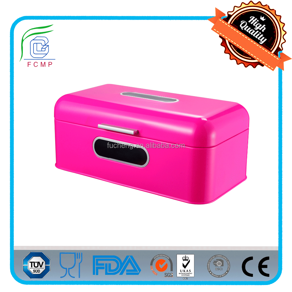 shiny red dome lid and black metal handle cold rolling with powder coating recycling kitchen bread box with logo