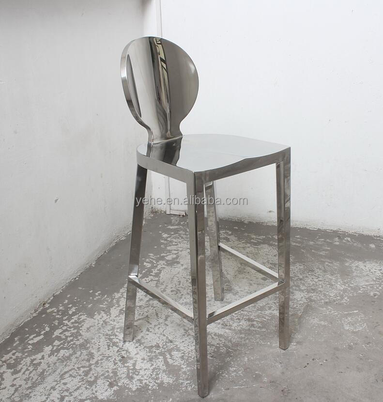 Stainless steel bar chair,shiny steel chair,metal high bar stool D-63