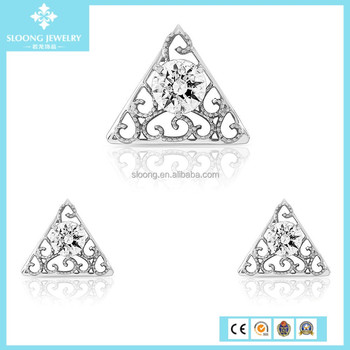 Elegant Triangle Zircon Cubic Prong fashion jewelry set, Solid 925 Sterling silver jewelry set