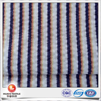 quick dry 65 polyester 35 cotton stripe seersucker fabric for women shirt