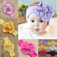 Baby Girls Soft Cotton Flower Headband Hairband Candy Jersey Flower Headband Photo Props Headwear