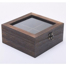 4 Compartment Rustic Dark Brown Wooden Tea Coffee Storage Box with Transparent Lid