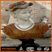 well polished natural wholesale marble stone hand carved marble bust of girl lady bust statues female marble busts
