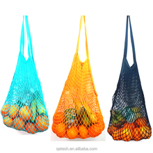 Reusable foldable string cotton fruit mesh net fabric shopping produce bag