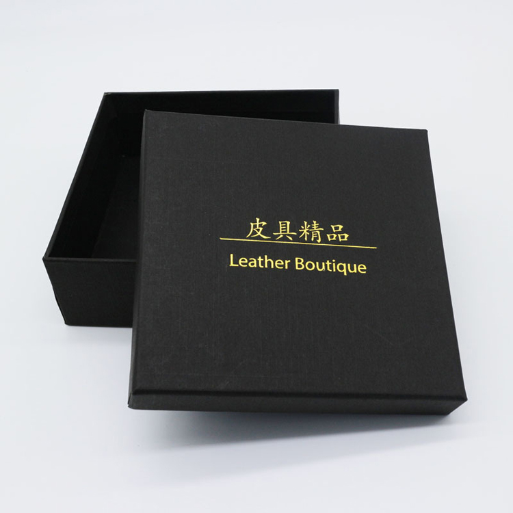 China lover's day packing black gold stamping belt and wallet storage box for boyfriend gift