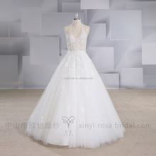 XY-17054 Sexy halter wedding dress bridal gown with beaded belt