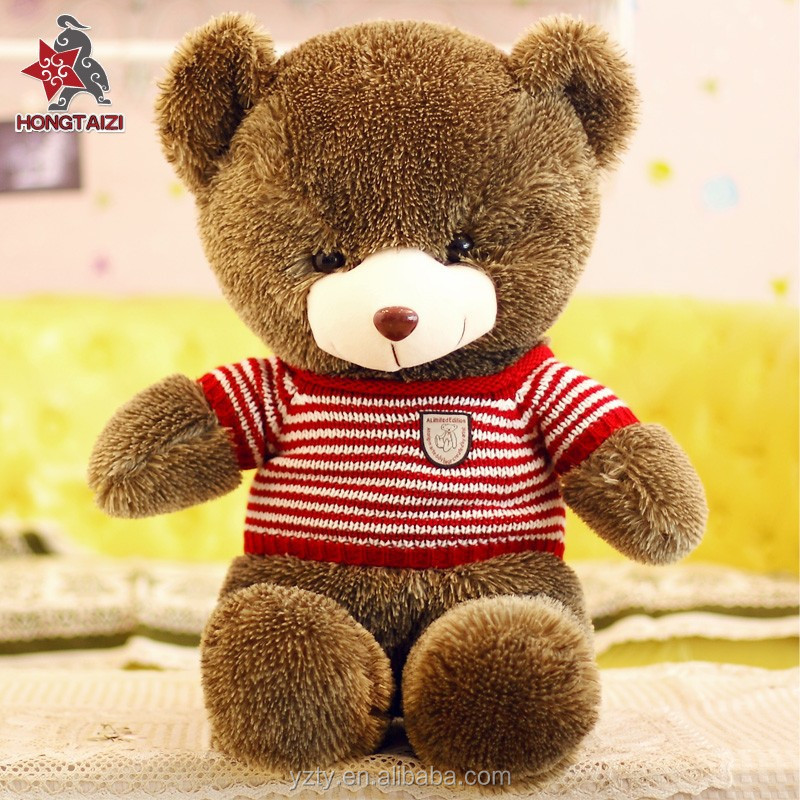 soft plush teddy bears with DIY knit strip sweater