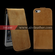 Genuine Leather Up-Down Open Flip Case for iphone 5, Luxury Handmade Genuine Leather Case for iPhone 5/5S