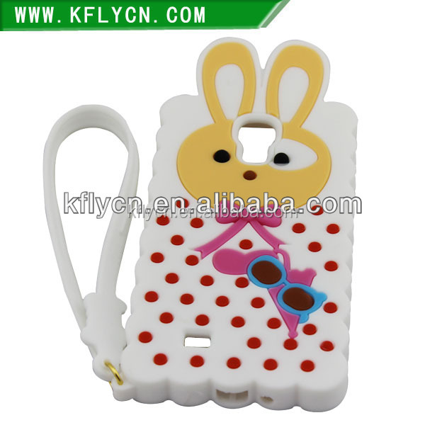 rabbit ear design animal shaped silicon case for samsung galaxy s3