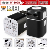 CE,ROHS,FCC certificates UK EU AU US multi plug world travel adaptor with 2 usb chargers for iphone/ipad/mobile phone