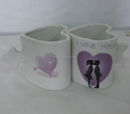 a couple heart shaped beautiful ceramic kiss coffee cups