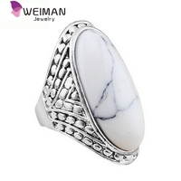 Oval Turquoise Fashion Ring Jewelry,big stone rings for man,Tibetan Alloy Antique Silver Plated Personality ring