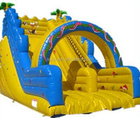 inflatable yellow and blue dry slide