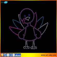 Artsky direct sale spangle graphics hot fix rhinestone transfer Thanksgiving chick custom t shirt printing