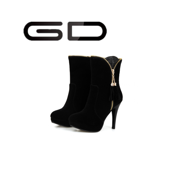 New Design China Mainland Manufacterers Black Color Sequin Woman Boot