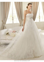 Nice-looking Strapless Sleeveless Ball Gown Appliqued European Style Wedding Dress