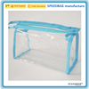 blue binding transparent pvc toiletry bag cheap pvc zipper bag
