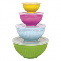Solid Color 4 Pieces Melamine Salad Bowl Set with Lid