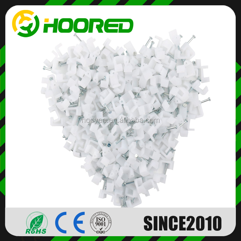 PACK OF 100 WHITE 5MM FIX ROUND CABLE CLIPS FOR TELEPHONE CABLE ETC