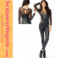 High quality china made black stretch sexy pvc leather catsuits