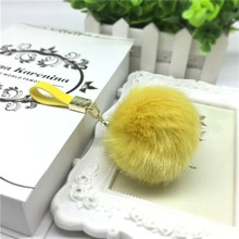 Luxury Metal Key Chain Clip with PU leather Strap Faux Fur Pompoms For Handbag