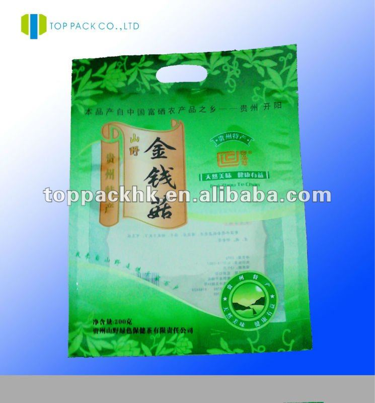 Mylar handle plastic packaging bag with handle/plastic bags