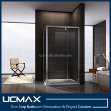 Square single glass door shower enclosure Aluminum frame hotel renovation