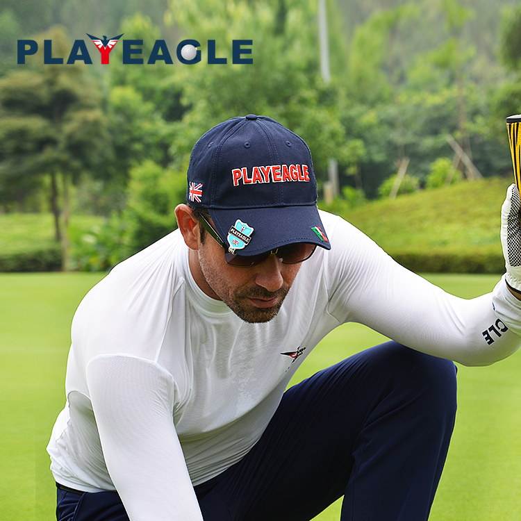 PLAYEAGLE Wholesale Customized Logo Sport Sun Caps Dry Fit Absorbable Golf Cap/ Polyester Baseball Cap Sun Hats