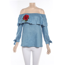 Wholesale Off Shoulder Women Denim Cotton Blouse Embroidered Tops