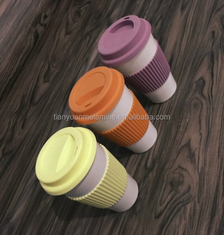 Eco-friendly biodegradable reusable bamboo fiber coffee cup
