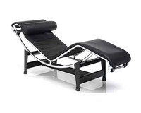 Le Corbusier recliner white leather chaise lounge chair