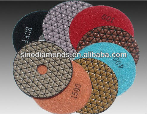 Hand use dry diamond polishing pads with triangle shape for marble granite contrete