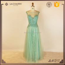 Glamorous Beaded Mint A Line Long Patterns of Lace Evening Dress