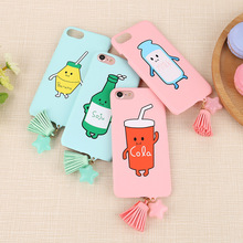 Stylish Korea Creative Cartoon Tassel Fringe Phone Case for iphone 7plus/6 Frosted Couple Hard Back Cover for iphone 6s plus