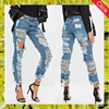 Fancy girls stylish scratch trousers guangzhou female women ripped destroyed denim damaged jeans