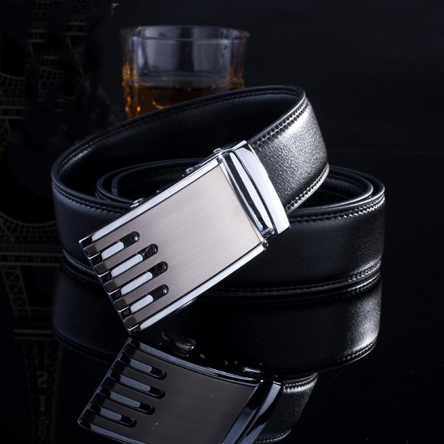 mens fashion belts, automatic belt buckle, leather belt black ,120cm