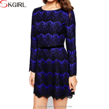 2016 china cheap apparel long sleeve lace loose shift dresses boho casual vetement for women
