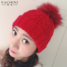 Mother And Daughter Winter Cashmere Cap With Real Fur Pom Pom