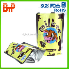 custom printing metalized stand up milk pouch with zipper