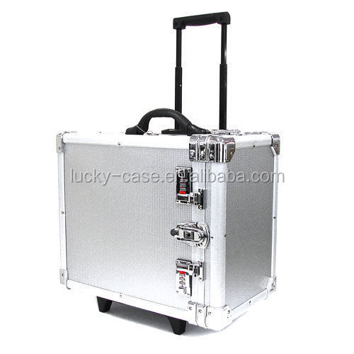 Rolling Jewelry Travel Case Aluminum Jewelry Trolley Case Salesman Sample Organizer Carry Case Combination Locking