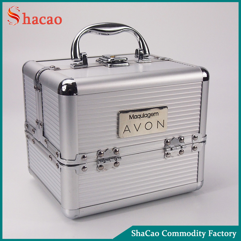 Portable Silver vanity container make up beauty aluminum cosmetic case
