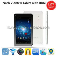 Factory price ultra thin 7 inch Android 4.1 tablet pc via8850 Cortex A9 1.5GHz HDMI