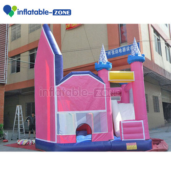 Inflatable pink dream bouncer castle for kids with inter small slide