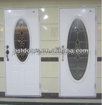 main steel glass door with oval