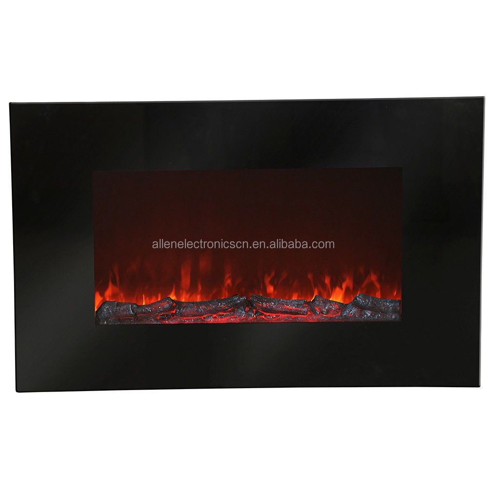 Electric Fireplace Flat Glass Frame Wall Mounted Glass Fire Black Electric Heater Fire Place Wall Hanger
